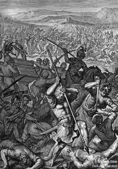 Битва с филистимлянами, захват Ковчега Завета. Иллюстрация к Библии