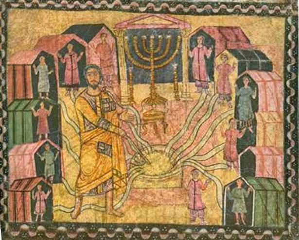 Чудо черпания воды. Фреска синагоги Дура-Европос (Сирия), 3 век