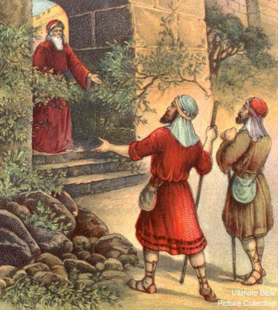 Шауль со слугой ищет ослиц и встречает Шемуэля. Иллюстрация к Библии