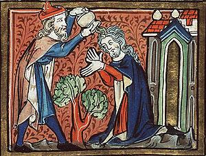 Помазание Шауля (миниатюра к Библии, 14 в.)