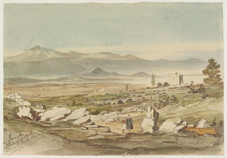 Вид на Гильгаль, Иерихон и Мертвое море. Неивестный художник, прибл. 1884 г.