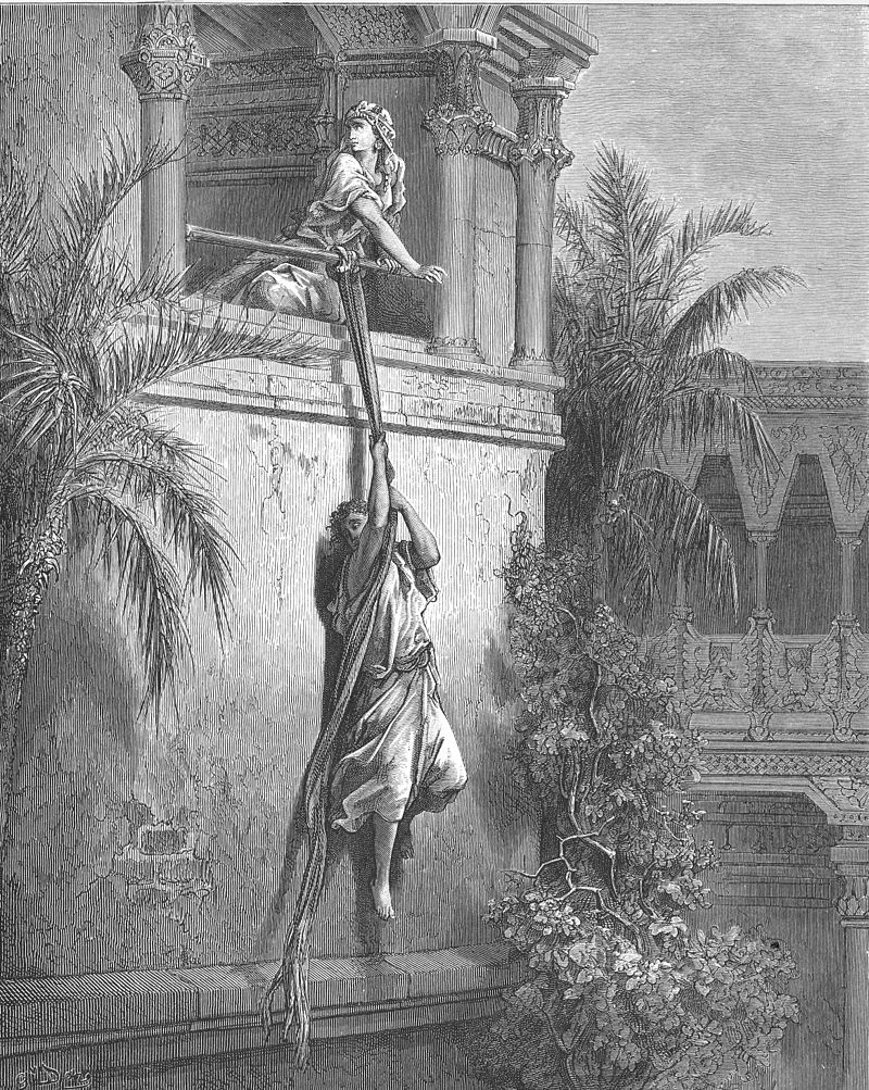 Мелхола спускает Давида из окна. Гюстав Доре, 1866