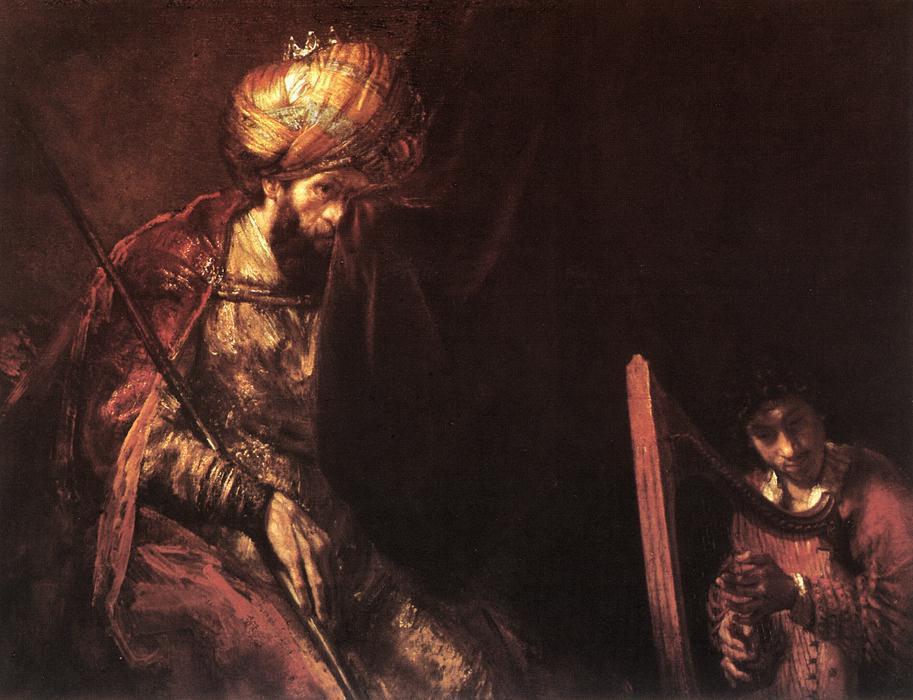 Давид играющий на арфе перед Саулом. Рембрандт, 1629 г