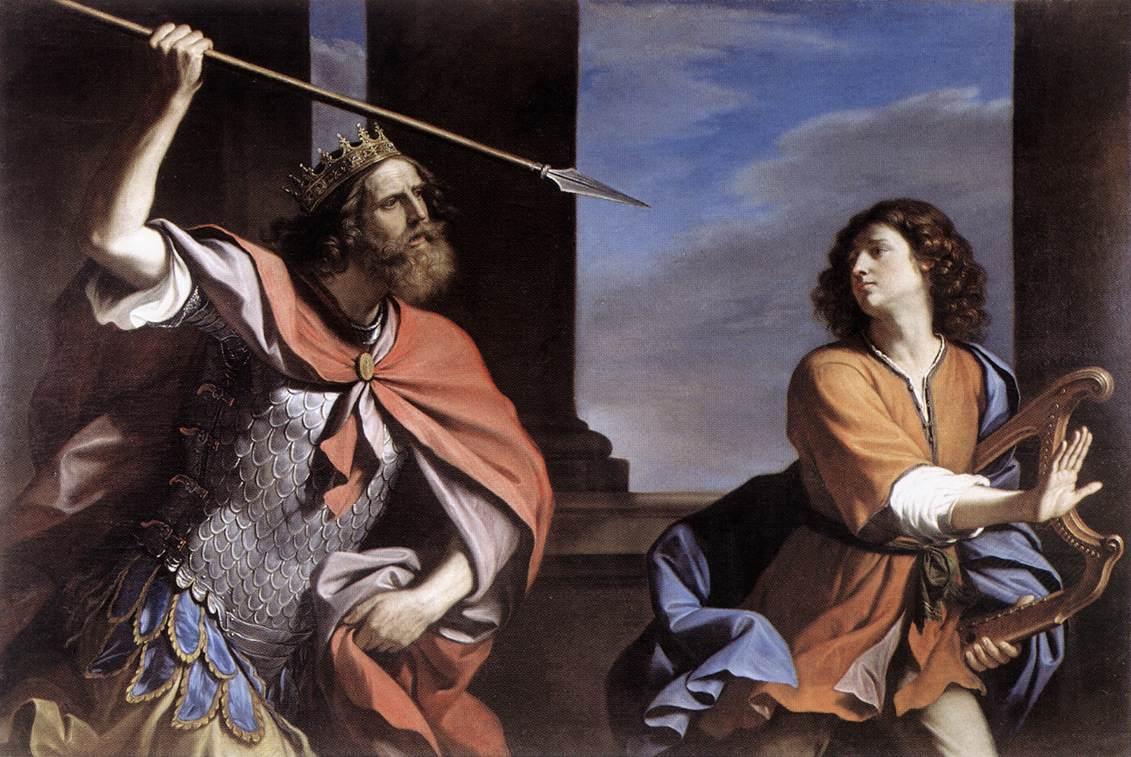 Саул мечет копье в Давида. Гверчино, 1646