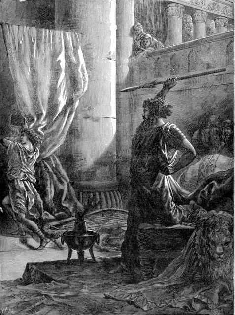 Шауль пытается убить Давида.  Генри Дэйвенпорт Нортроп, 1894