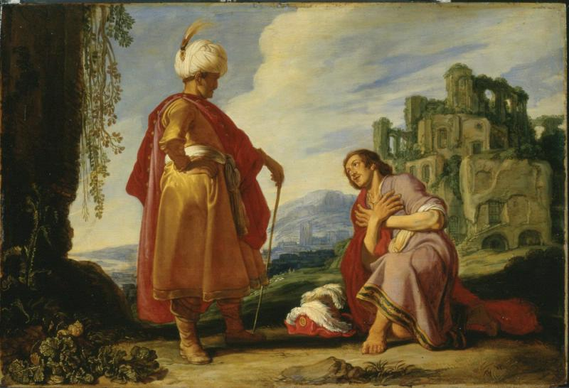 Давид и Йонатан. Питер Питерс Ластман, 1620 .'Слуга ушел, а Давид вышел из укрытия, простерся ниц и трижды поклонился' (I Сам. 20:41)