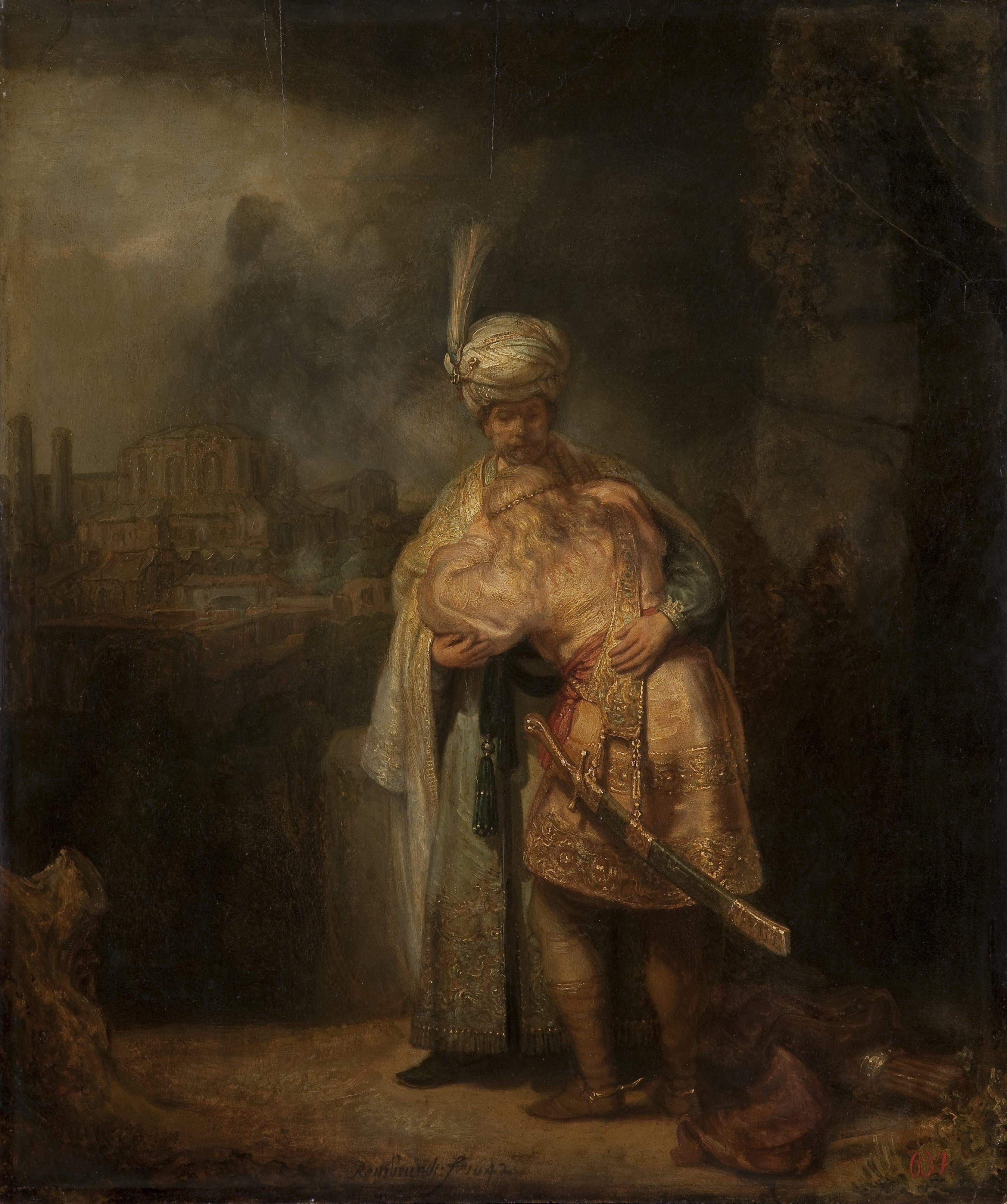 Прощание Давида с Йонатанам. Рембрандт Гарменс ван Рейн, 1642. (Государственный Эрмитаж, Санкт-Петербург)