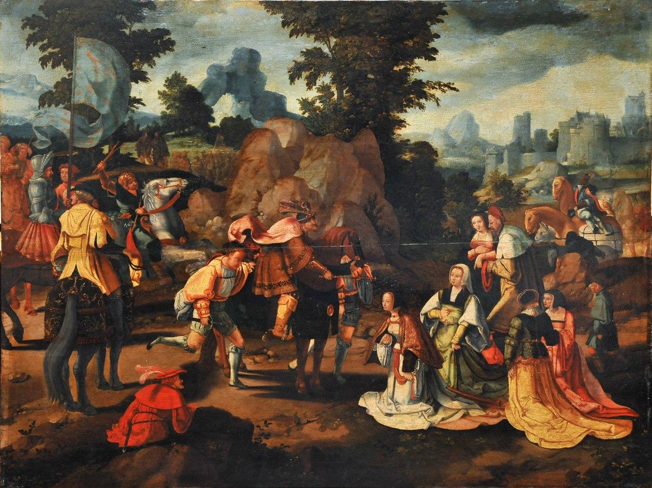 Лукас ван Лейден. XVI в. Давид и Авигея, Дерево, масло