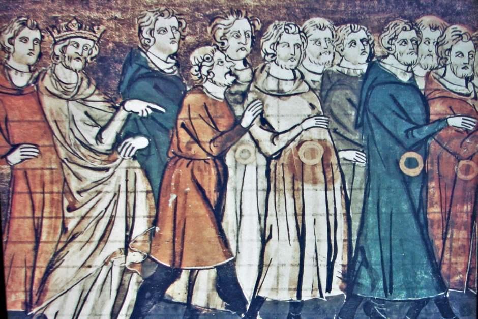 Миниатюра, изображающая изгнание евреев из Франции. У евреев нет крючковатых носов; крючконосый человек – королевский пристав, чьи уродливые черты подчеркивают низкое социальное положение (Из Grandes Chroniques de France, 1182).