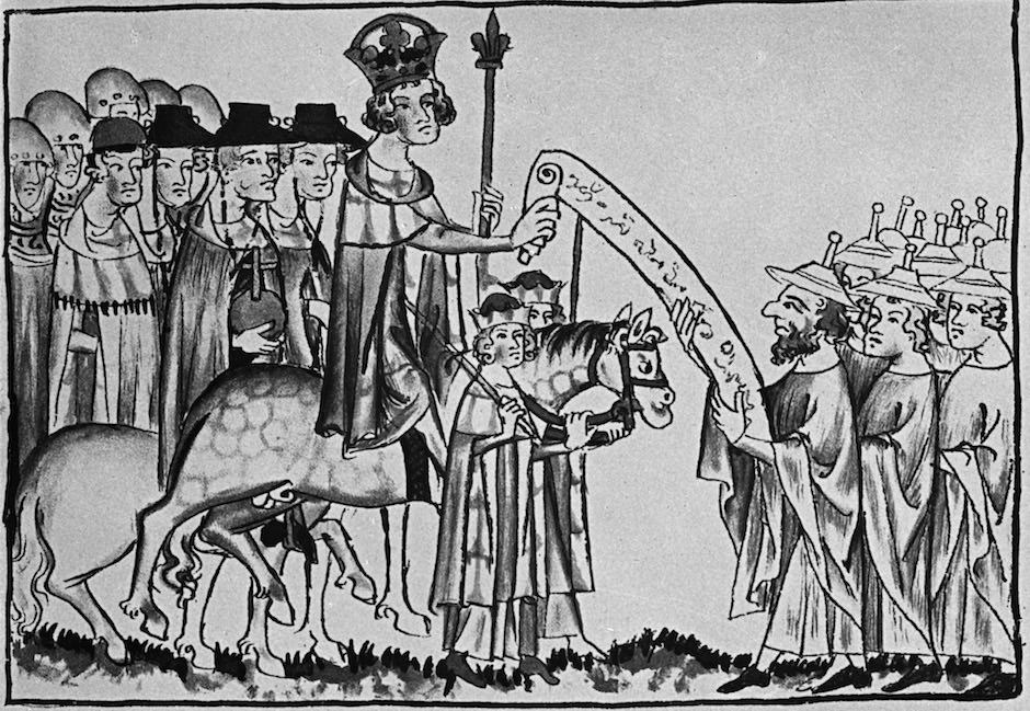 Emperor Henry VII on his way to Rome... Henry confirms to the Jews of Rome their Rights. From the Codex Balduini Trevirensis, Weidmannsche Buchhandlung, 1881. Koblenz, Landeshauptarchiv, Inv.-Nr. LHA Ko Best 1 C Nr. 1, fol. 24r.