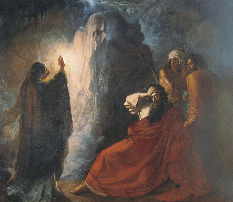 Аэндорская волшебница вызывает тень Самуила (Мартынов Д. Н., 1857 год)