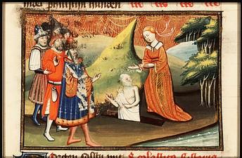 Hide Дух Самуила поднимается из земли (миниатюра XV века)