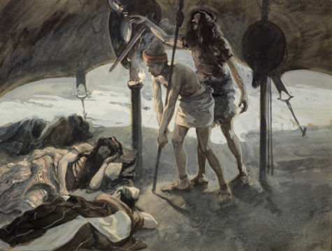 Давид берет у спящего Шауля копье и кувшин с водой. Джеймс Тиссо (1836-1902 ), Jewish Museum, New York,