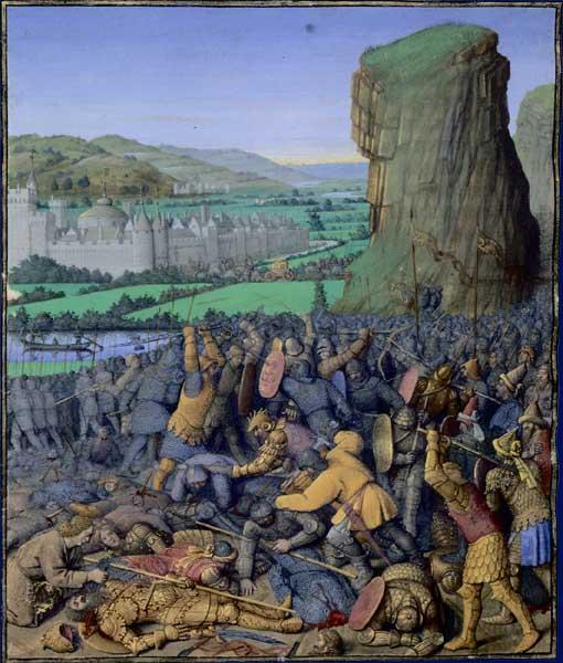 «Гелвуйская битва», Жан Фуке, 1470—1475 (илл. к Иосиф Флавий, «Иудейские древности»)