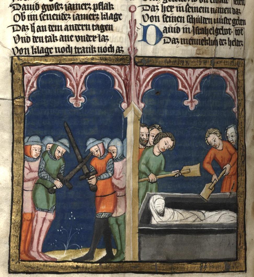 Похороны Авнера. Рудольф Эмсский (Rudolf von Ems). Всемирная хроника, Богемия, 13 в.