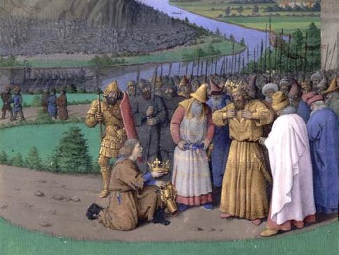 Давиду приносят известие о смерти Саула, Жан Фуке, 1470—1475 (илл. к Иосиф Флавий, «Иудейские древности»)