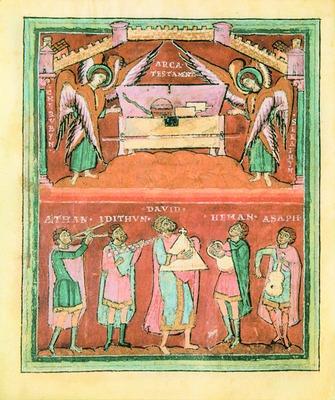 Прор. Давид перед ковчегом завета. Миниатюра из Хайлигенбергской Псалтири. Кон. XI в