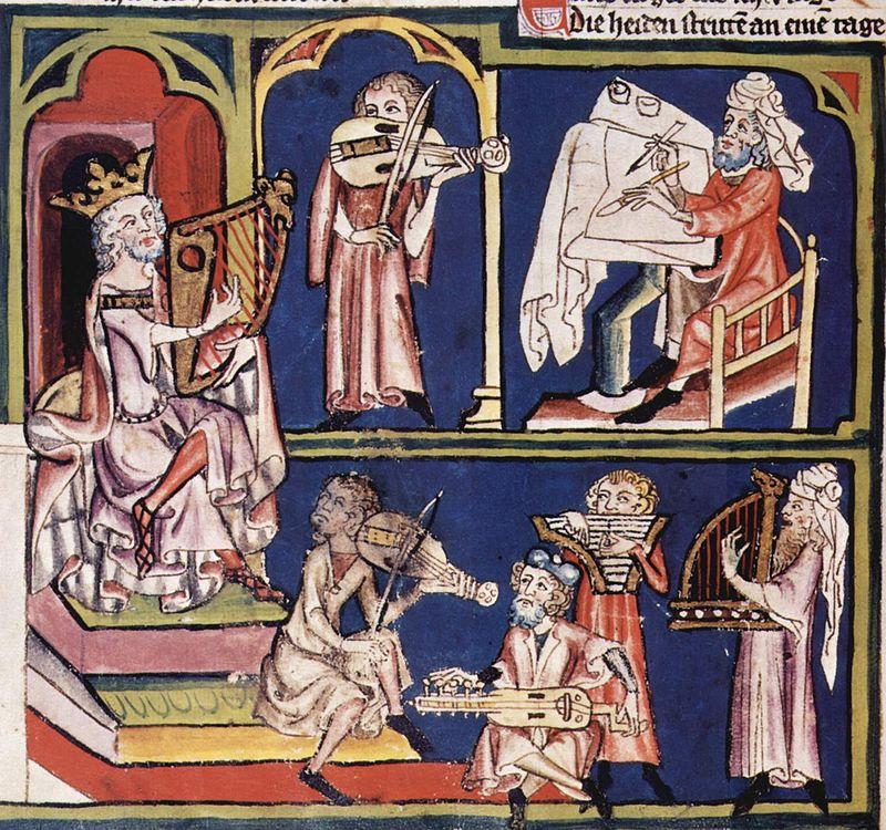 Давид и музыканты, миниатюра, прибл. 1340 (Цюрих, Центральная библиотека)
