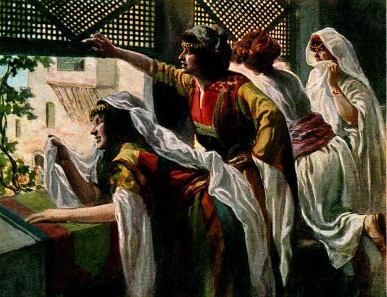 Михаль (с другими женами Давида) набюлюдает за танцем царя. Джеймс Тиссо (1836-1902)