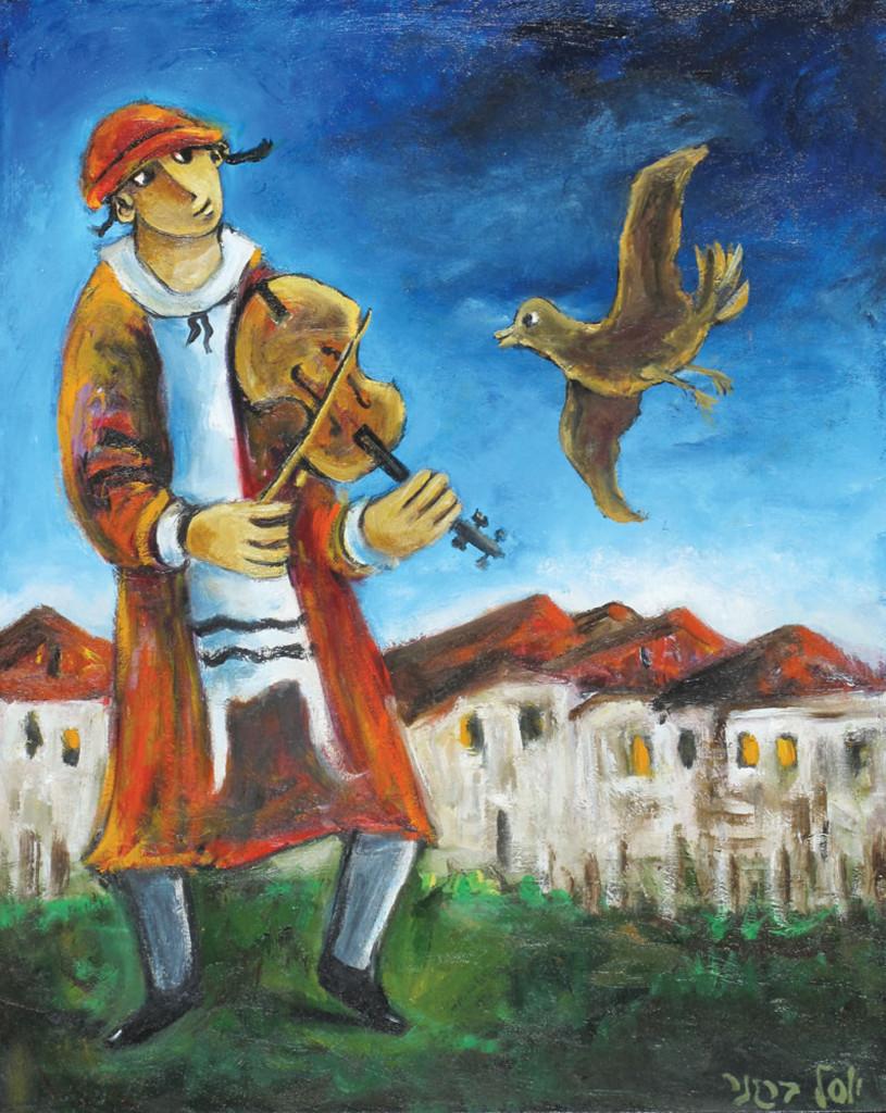 Илл. 2. Йосл Бергнер, Мальчик-клезмер с птицей