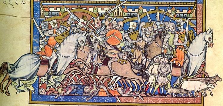 Войны царя Давида. Иллюстрация из Библии Мациевского (середина 13 века).
