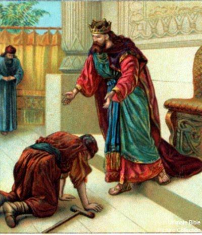 Давид и Мефивошет. Иллюстрация к Библии