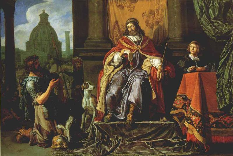 Питер Ластман. Давид передает письмо с Урией Хеттом, 1619