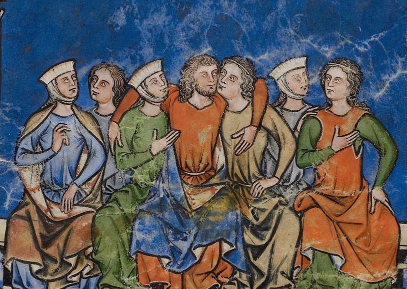Авессалом с наложницами своего отца. Фрагмент листа со сценами из жизни Давида.  Северная Франция, 1250 г.