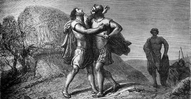 Иов убивает Амасу. Иллюстрация к Библии