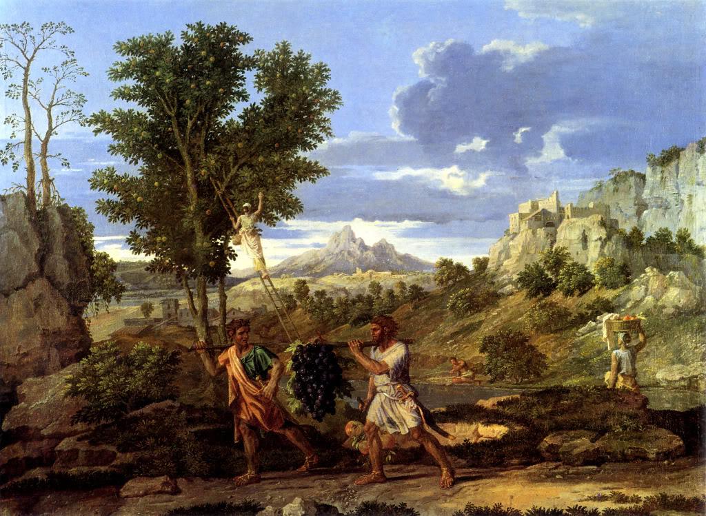 Никола Пуссен. Пейзаж из библейского цикла «Времена года» (гроздь винограда из Земли Ханаанской), 1660-1664