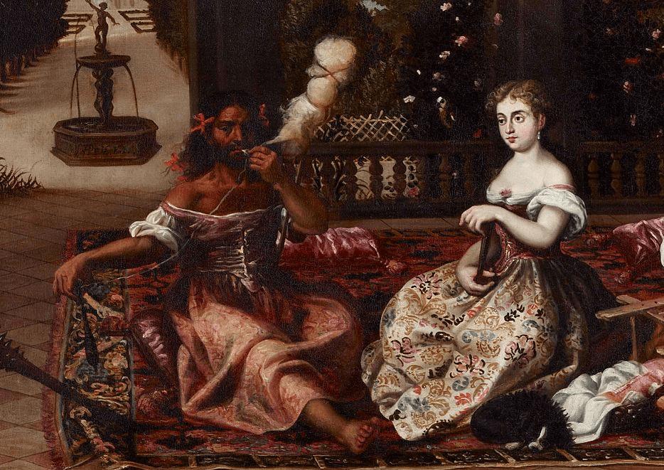 Диего Лопез эль Мудо. Геракл и Омфала (фрагмент). 17 век