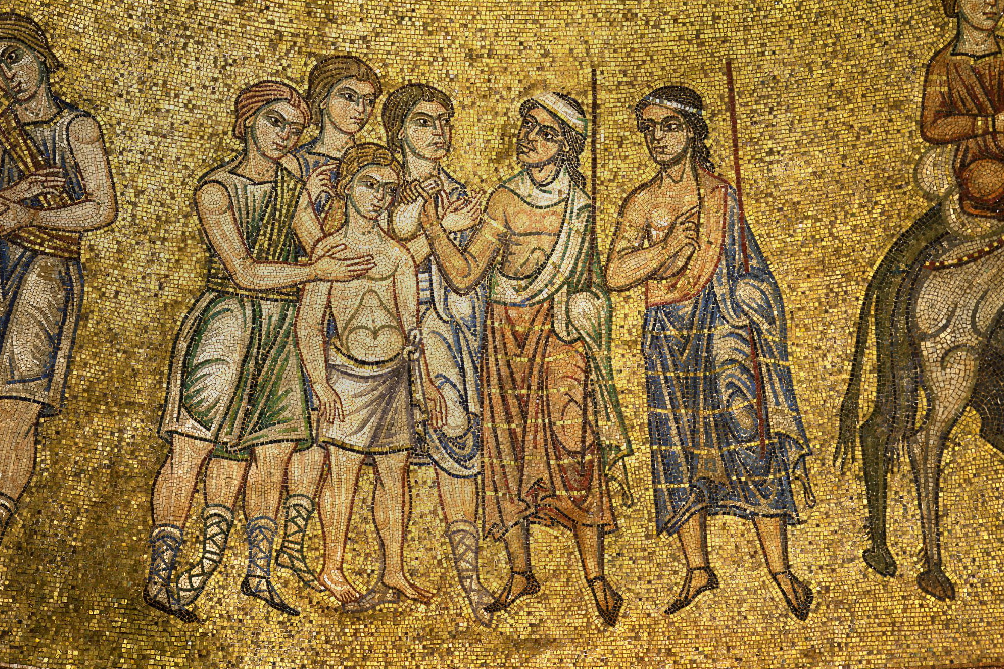 Братья продают Иосифа в рабство. Мозаика собора Святого Марка, Венеция.