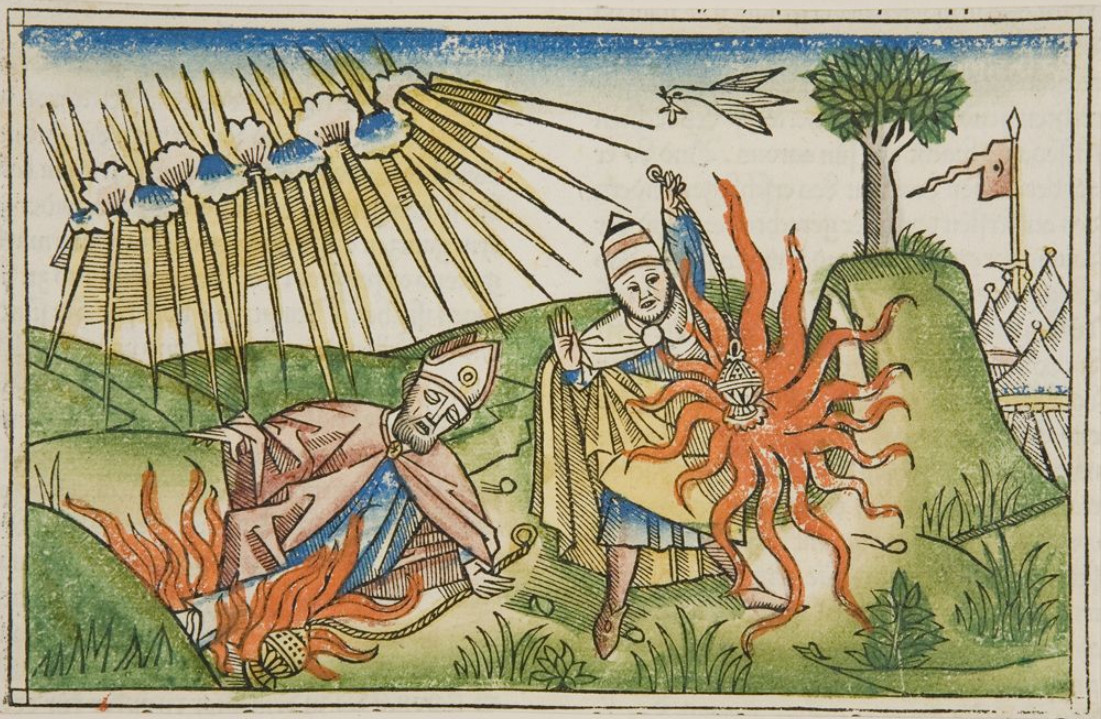 Смерть сыновей Аарона, средневековая гравюра