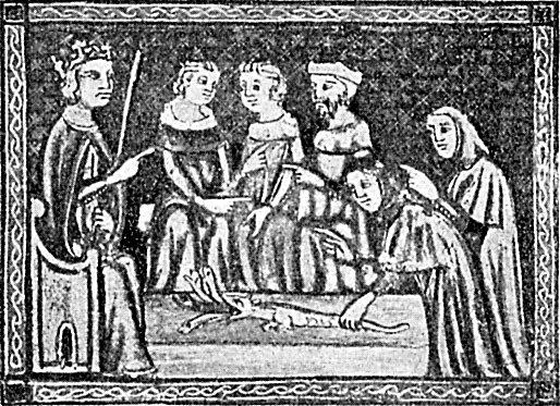 Аарон превращает свой жезл в змея. Сараевская аггада, XIV в.