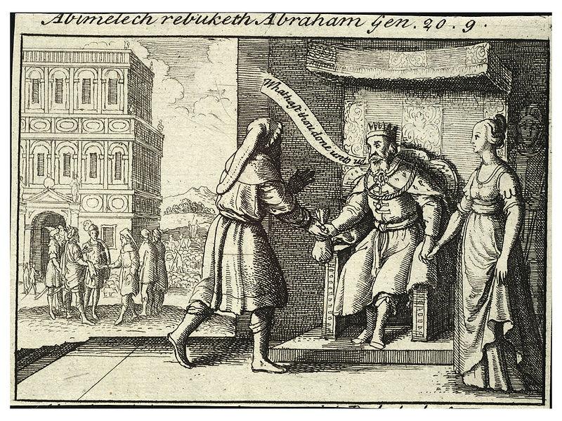 Авимелех упрекает Авраама. Офорт Вацлава Холлара, XVII в.
