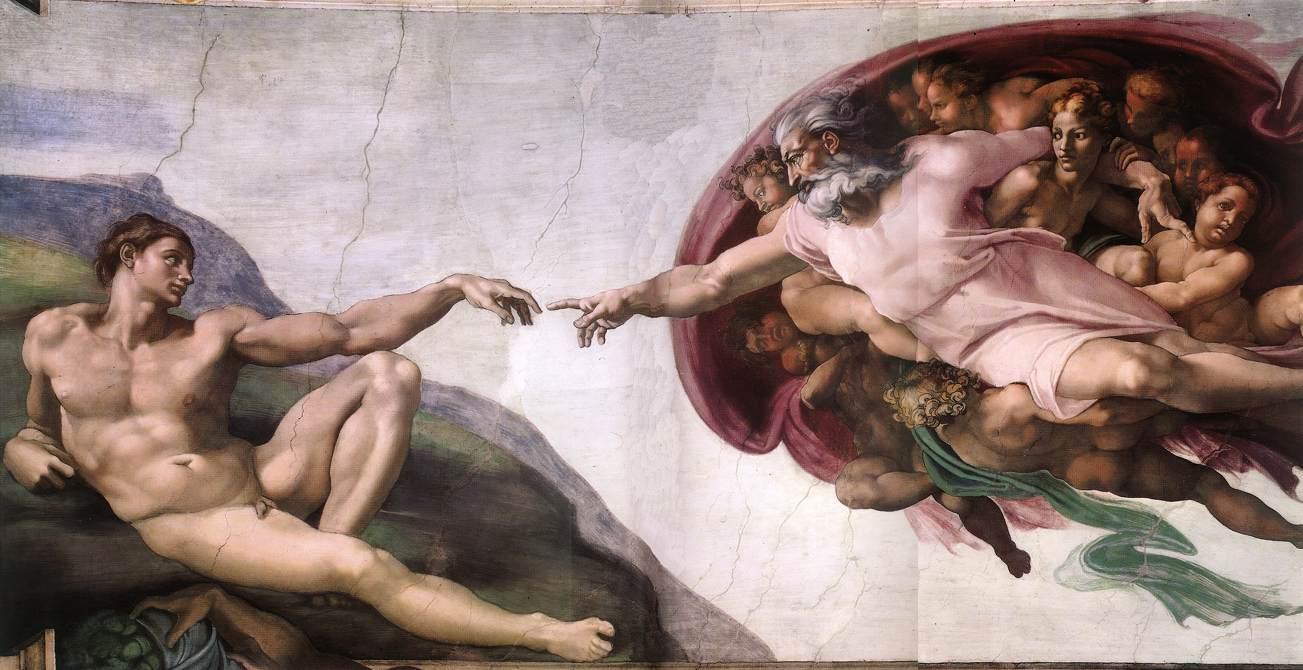 Сотворение Адама. Фреска Микеланджело, 1510