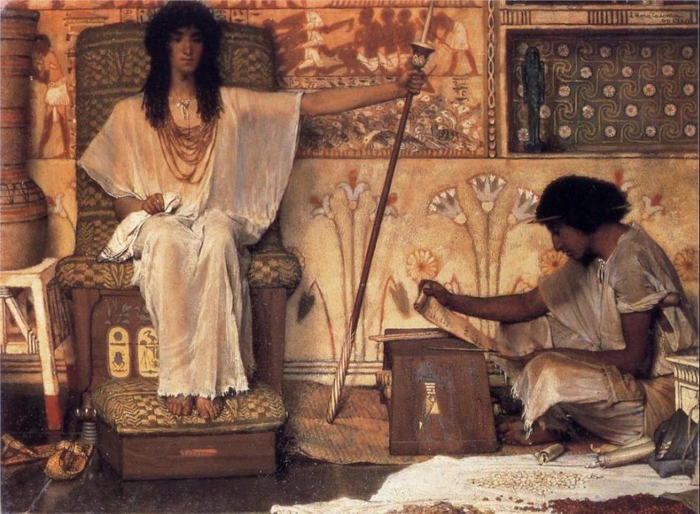 Йосеф - надзиратель зернохранилищ фараона. Лоуренс Альма-Тадема, 1874