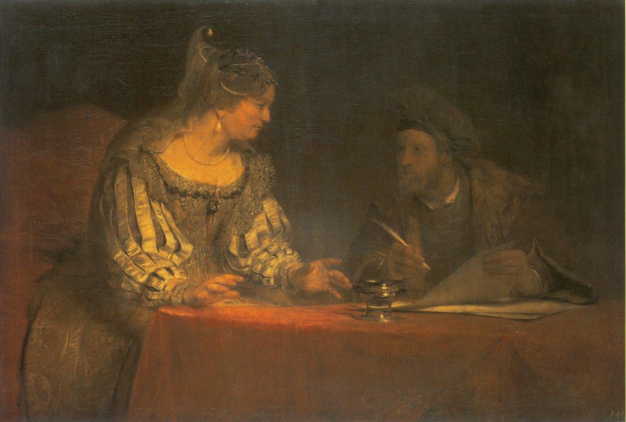 Эстер и Мордехай пишут первое послание о Пуриме. Арент де Гелдер, 1685