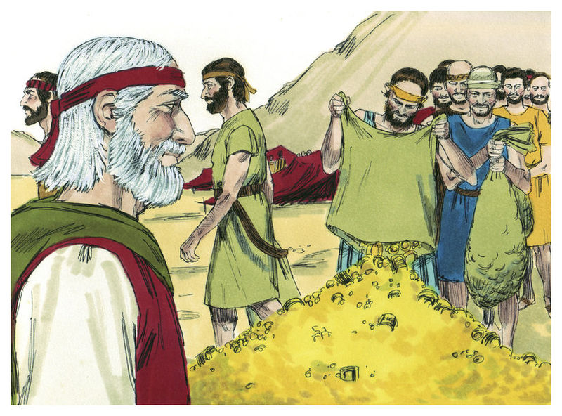 Израильтяне собирают приношения для строительства Скинии. Иллюстрация к изданию Библии, 1984