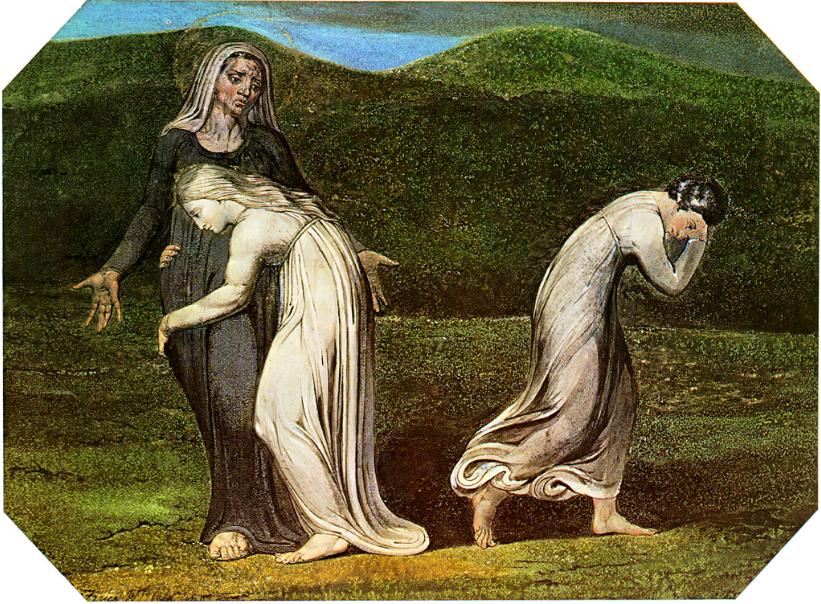 Наоми умоляет Рут и Орпу вернуться в землю Моава. Уильям Блейк, 1795