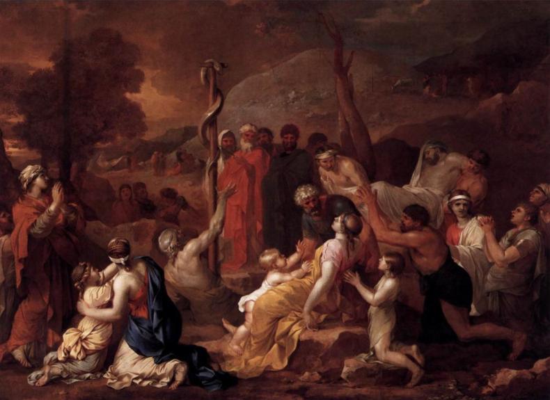 Моше и медный змей. Себастьян Бурдон, 1654
