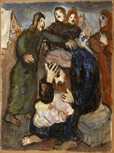 Йааков рыдает над туникой Йосефа. Марк Шагал, 1931