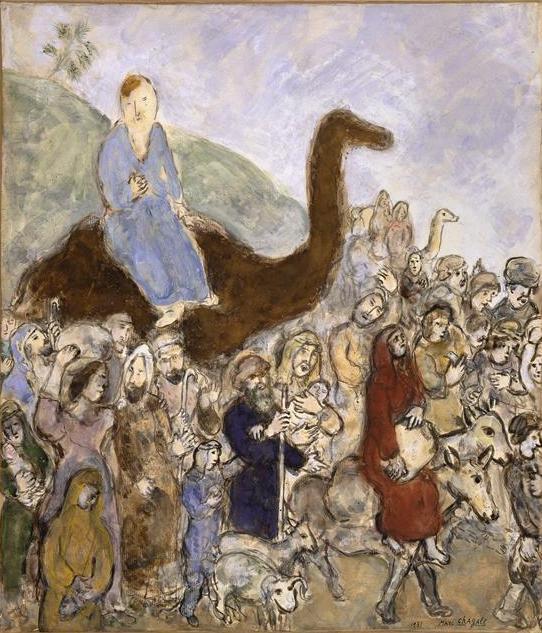 Йааков покидает свою страну, чтобы идти в Египет. Марк Шагал, 1931