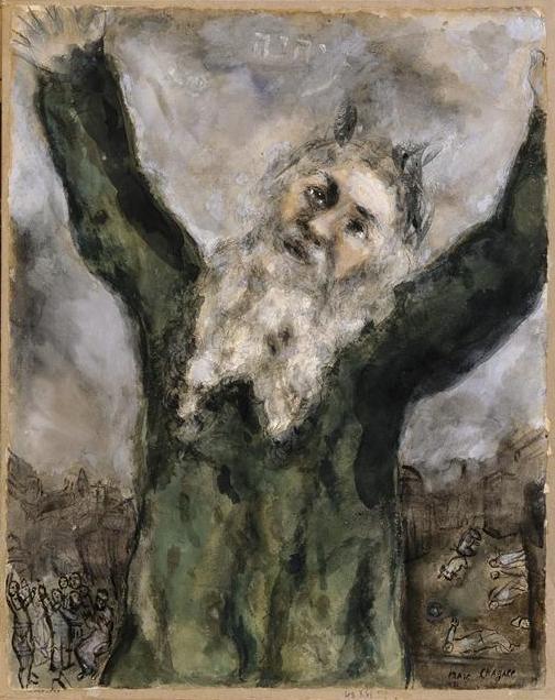 Моше сеет смерть среди египтян. Марк Шагал, 1931