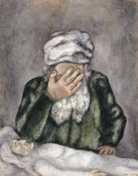 Авраам, оплакивающий Сару. Марк Шагал, 1931