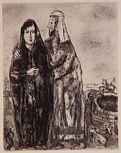Встреча Йаакова и Рахель у колодца. Марк Шагал, 1931