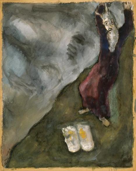 Моше разбивает скрижали Завета. Марк Шагал, 1931
