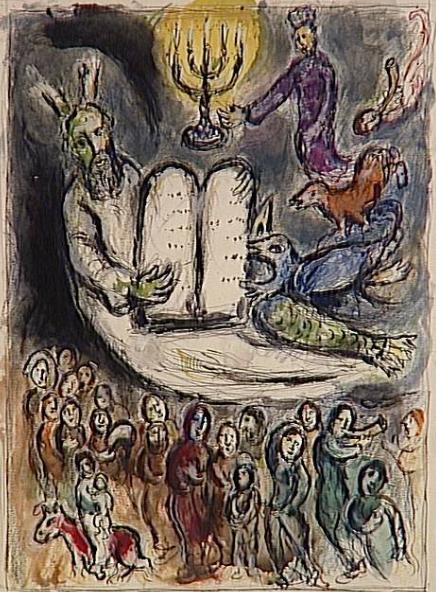 Моше показывает израильтянам скрижали Завета. Марк Шагал, 1966