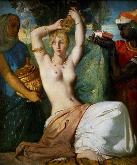 Эстер готовится к встрече с царем Ахашверошем. Теодор Шассерио, 1841