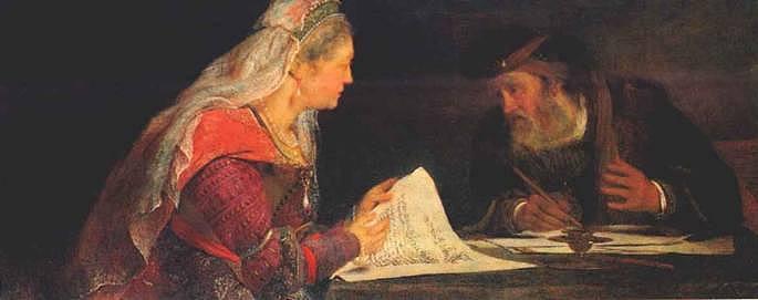 Эстер и Мордехай пишут второе послание о Пуриме. Арент де Гелдер, 1685
